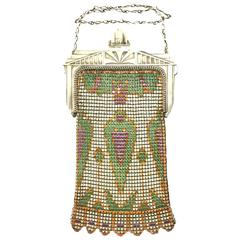 1920s Art Deco Enamel Chainmail Mesh Purse