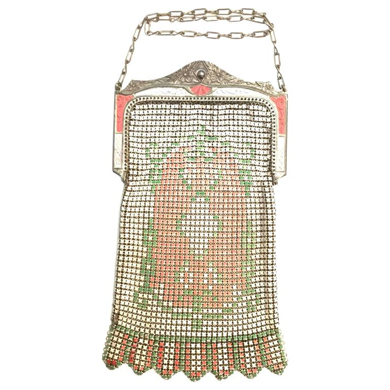 1920s Whiting and Davis Floral Enamel Mesh Purse For Sale