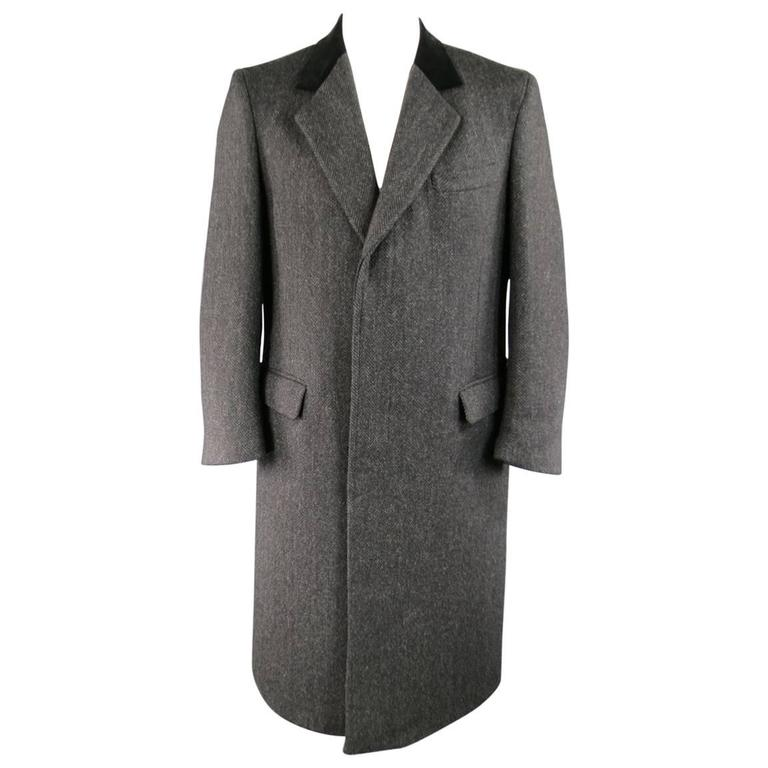 BARNEY'S NEW YORK 42 Charcoal Herringbone Wool Velvet Collar Hidden Placket Coat