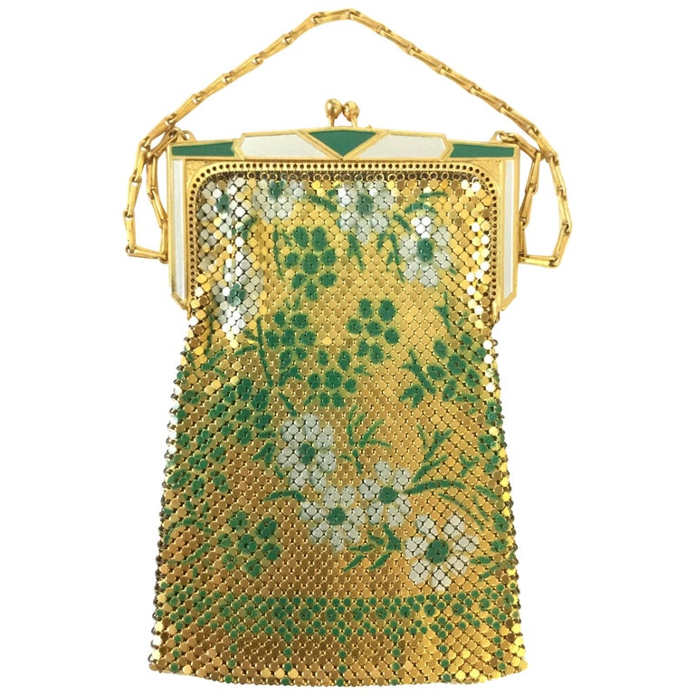 1920s Whiting and Davis Floral Enamel Gold Art Deco Mesh Purse