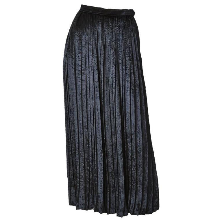 Yves Saint Laurent Crushed Velvet Pleated Skirt For Sale