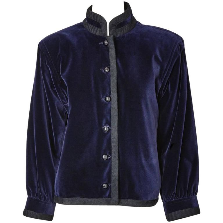 Yves Saint Laurent Midnight Blue Velvet Chinese Collection Jacket