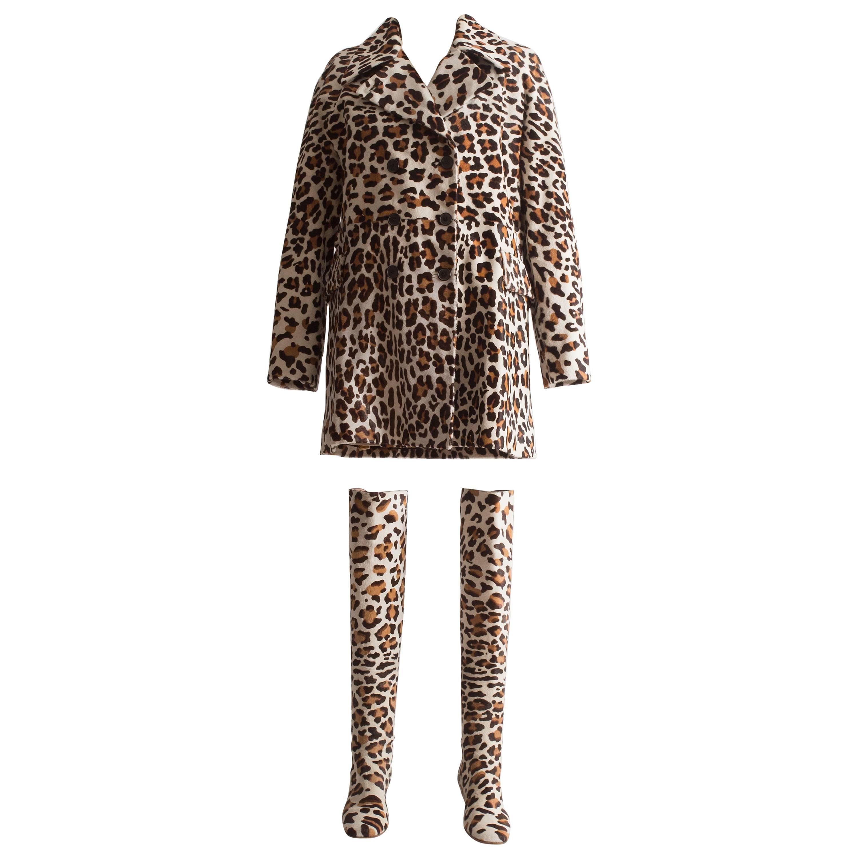 Alaia pony hair leopard print coat and boots ensemble
