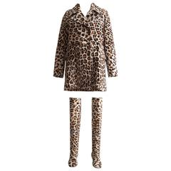 Alaia pony hair leopard print coat and boots ensemble