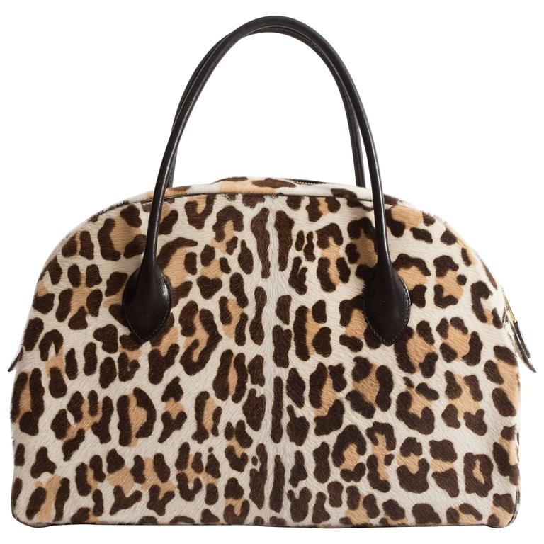 Alaia large pony hair leopard print tote bag 1