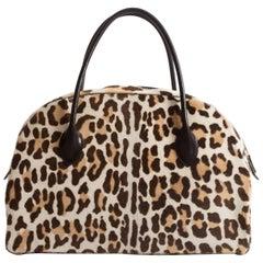 Alaia large pony hair leopard print tote bag