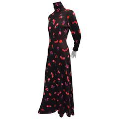 1970s Dorian Jersey Wide-Leg Jump Suit with Colorful Cherry Print