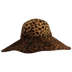 1980s Eric Javits Leopard Print Fur Felt Wide Brimmed Hat w Leather Band