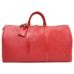 Vintage Louis Vuitton Keepall 50 Red Epi Leather Duffle Travel Bag