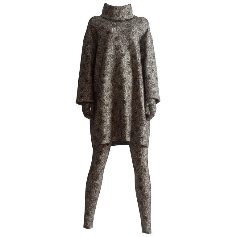 Alaia knitted sweater dress, leggings and gloves ensemble