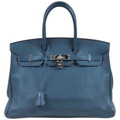 Hermes Bleu Thalassa Clemence Leather Birkin 35 cm Bag