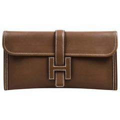 "Hermes Etoupe Swift Leather Constrast Stitch ""Jige Elan"" Clutch Bag"
