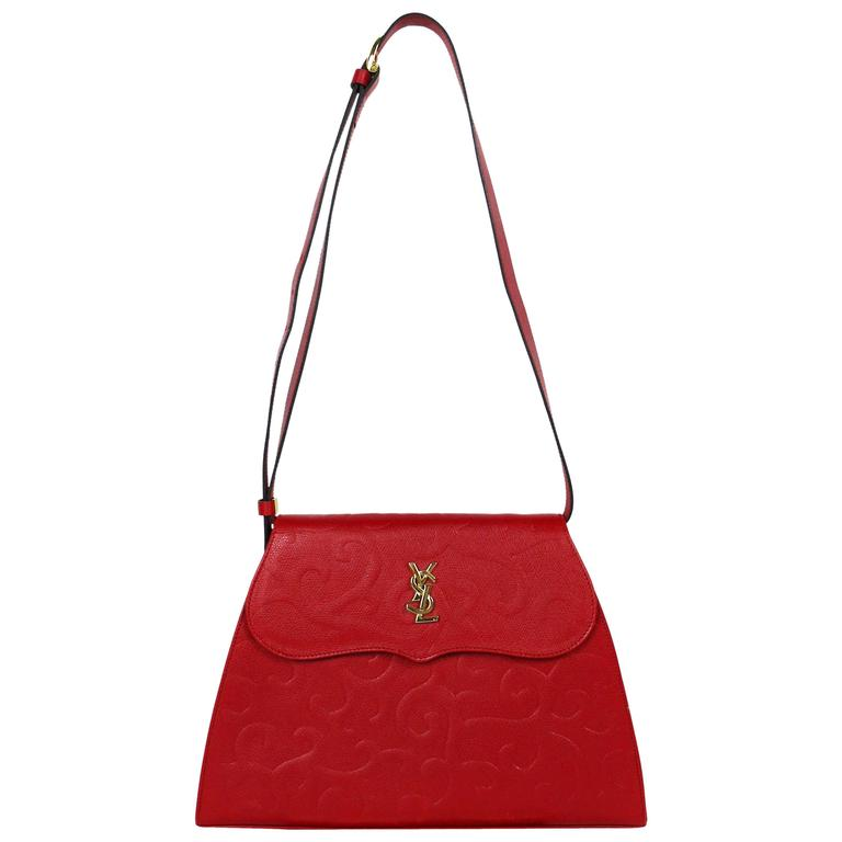Yves Saint Laurent YSL Vintage Red Leather Arabesque 2-Way Shoulder Bag