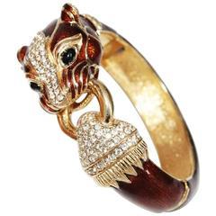 Gorgeous Ciner tiger enamelled & crystal bracelet 80s