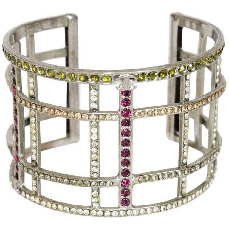 Chanel multi-colored crystal silver cuff of 1998 1
