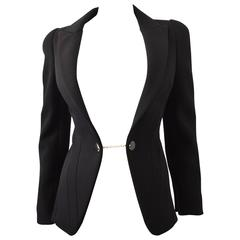 Alexander McQueen Black Fitted Jacket with 'Cufflink' Metal Fastening