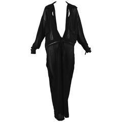 Yohji Yamamoto Black Sheer Suspender Jumpsuit