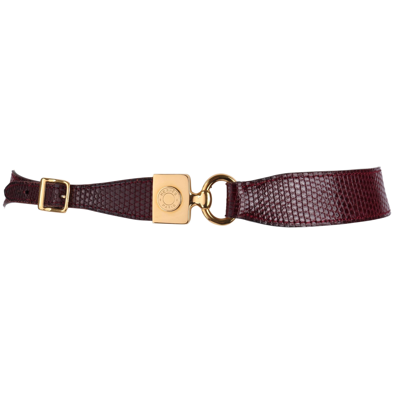 HERMES c.1980's Burgundy Lizard Skin Leather Equestrian Ring Belt Gold Hardware