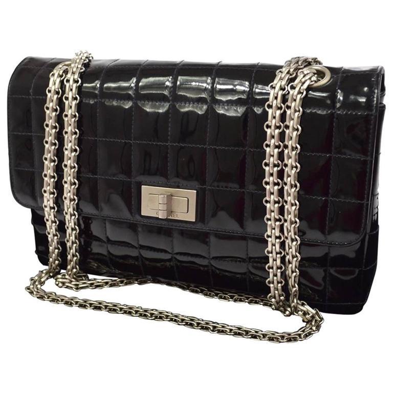Chanel 2.55 Black Patent Leather Chocolate Bar Silver Evening Shoulder Flap Bag
