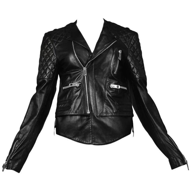 Balenciaga Black Quilted Leather Moto Jacket For Sale
