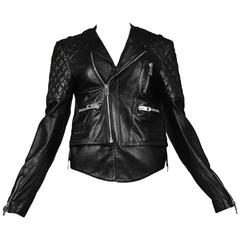 Balenciaga Black Quilted Leather Moto Jacket