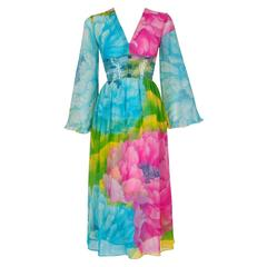 1972 Hanae Mori Couture Beaded Floral Print Silk Chiffon Angel-Sleeve Dress