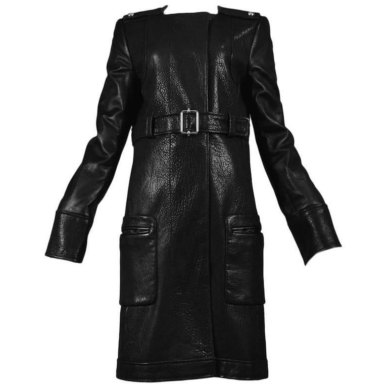 Balenciaga Black Leather Belted Coat
