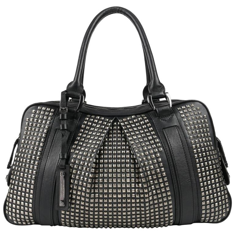 BURBERRY Prorsum A W 2007 Runway Black Leather Knight Studded Satchel Bag  Purse at 1stdibs 18135cfeb284a