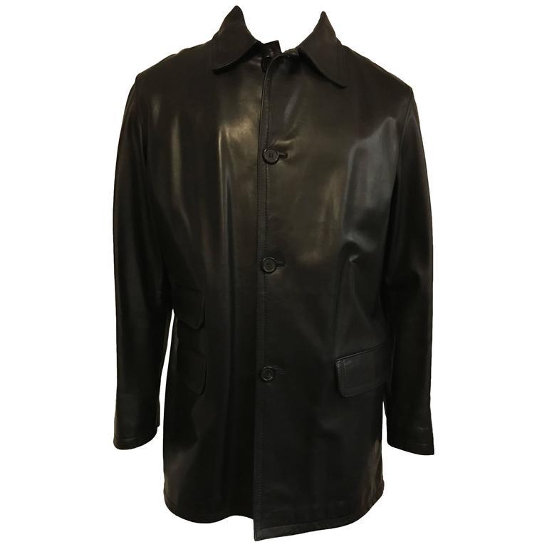 Men's Prada Car Coat in Luxurious Black Leather For Sale at 1stdibs