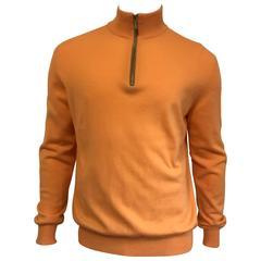 Men's Ermenegildo Zegna Cashmere Zip Neck Sweater in Peach Sorbet