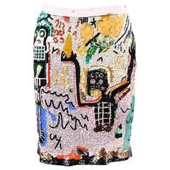 Valentino RTW F06 Black Pink Multicolor Sequined Jean Michel Basquiat Skirt