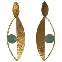Herve van der Straeten Gilded Brass and Amazonite Pierced Earrings