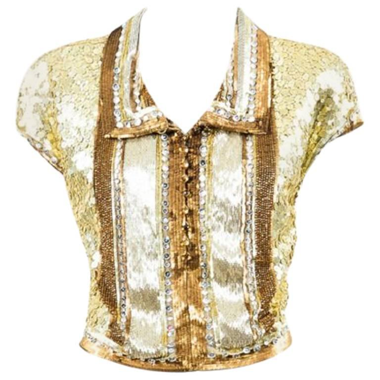 Vintage Valentino Gold Silver Sequin and Beaded Collared ...