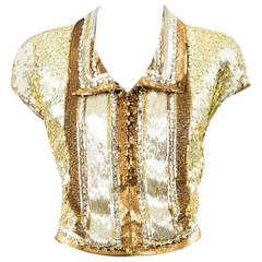 Vintage Valentino Gold Silver Sequin & Beaded Collared Cap Sleeve Top Size 8