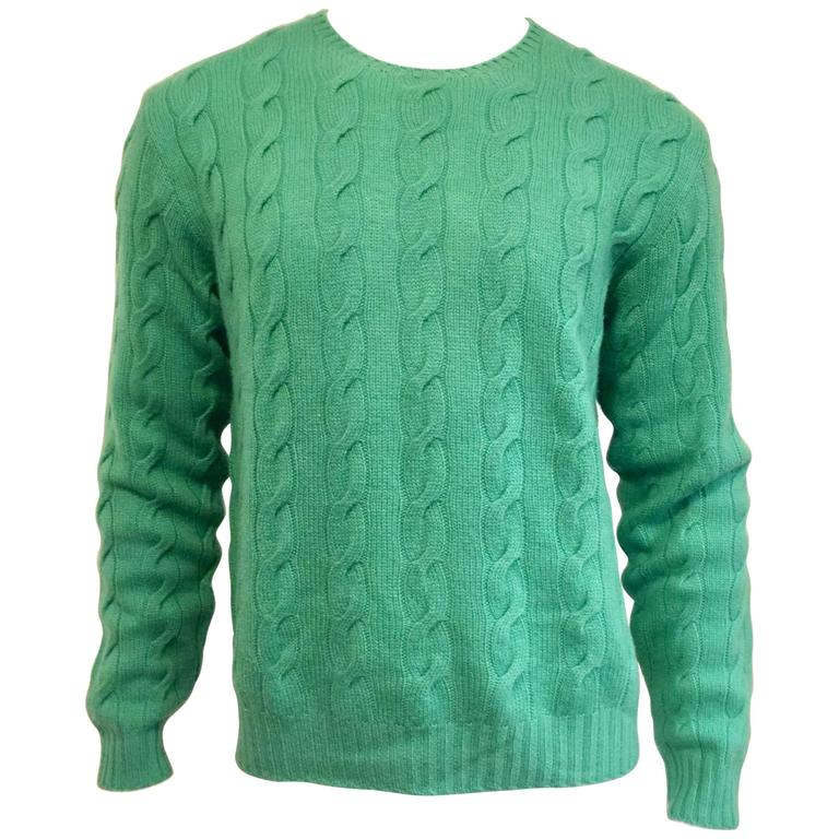 96f5e577895 Men's Ralph Lauren Purple Label Cable Knit Cashmere Sweater/Emerald Green