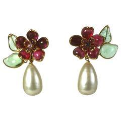 Chanel Camellia Drop Pearl Earclips