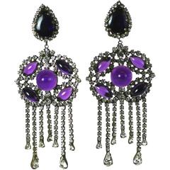 Kenneth Jay Lane Crystal Paste and Amythest Cabochon Earrings