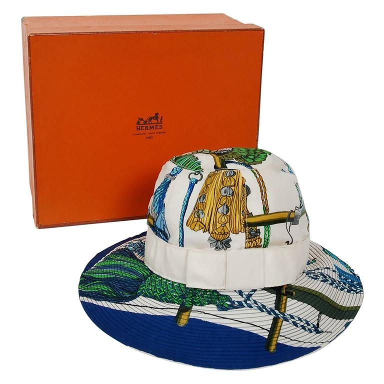 1960's Hermes Paris Colorful Nautical Novelty Silk-Twill Bucket Hat w/ Box 1