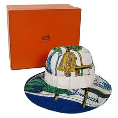 1960's Hermes Paris Colorful Nautical Novelty Silk-Twill Bucket Hat w/ Box