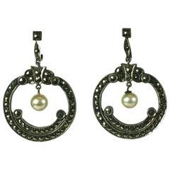 Art Deco Marcasite Hoop Earrings