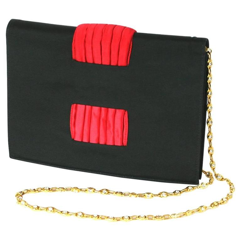 Valentino Faille and Pleated Satin Clutch with Jeweled Chain For Sale