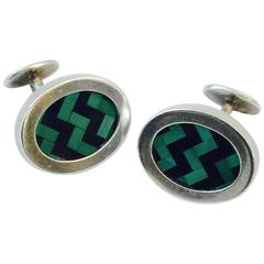 Men's Tiffany & Co. Sterling Silver and Enamel Vintage Cufflinks