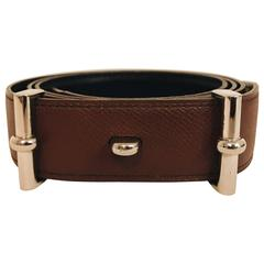 Men's Hermes Charmonix Leather and Palladium Plated Belt Buckle