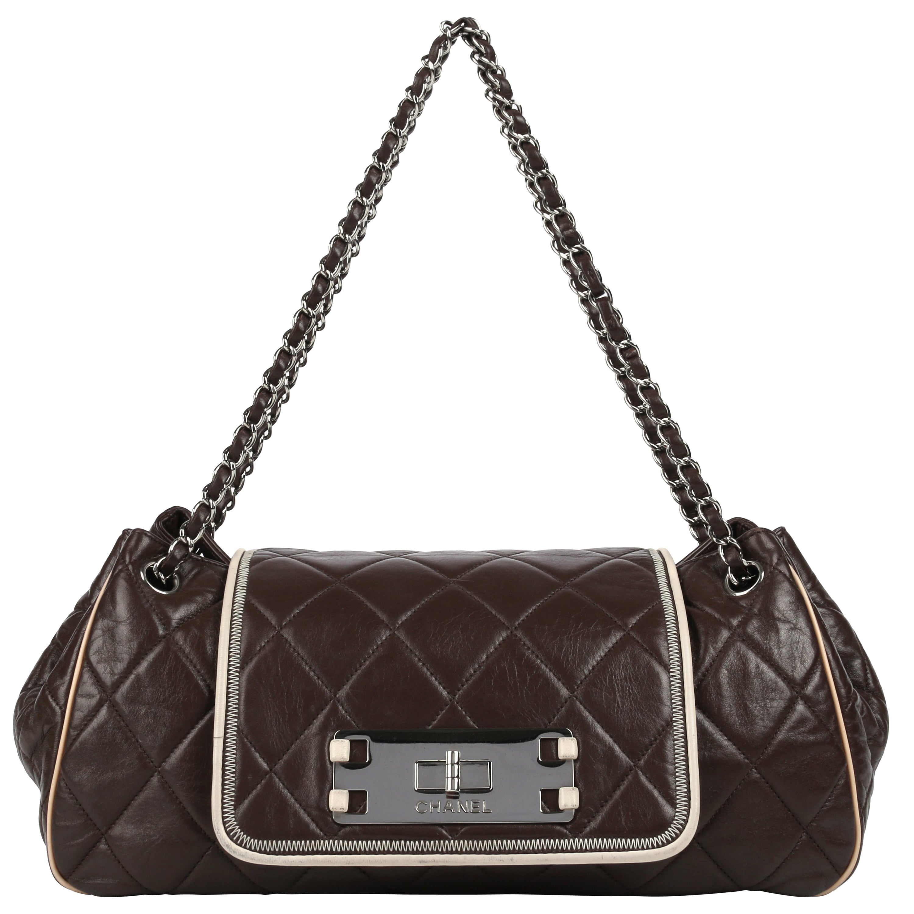 """CHANEL S/S 2008 """"East West"""" Brown Quilted Leather Accordion Flap Bag Purse"""