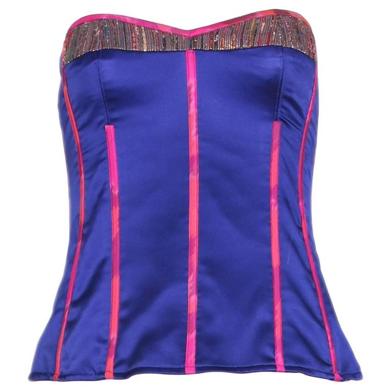 Tracy Feith Purple Silk Bustier W/Hot Pink Trim & Metallic Inset
