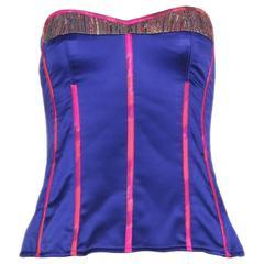 Tracy Feith Purple Silk Bustier W/Hot Pink Trim & Metallic Inset
