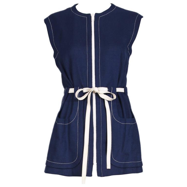 1970's Pierre Cardin Navy Linen Vest W/ White Zipper & Vinyl Belt