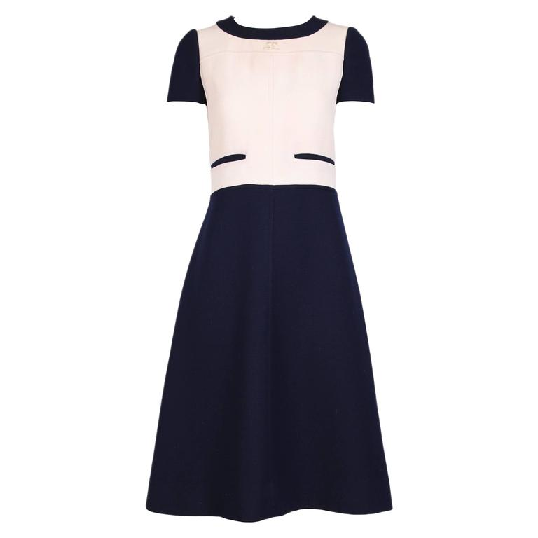 Courreges Navy Creme Color Block Cap Sleeve Wool Day Dress For