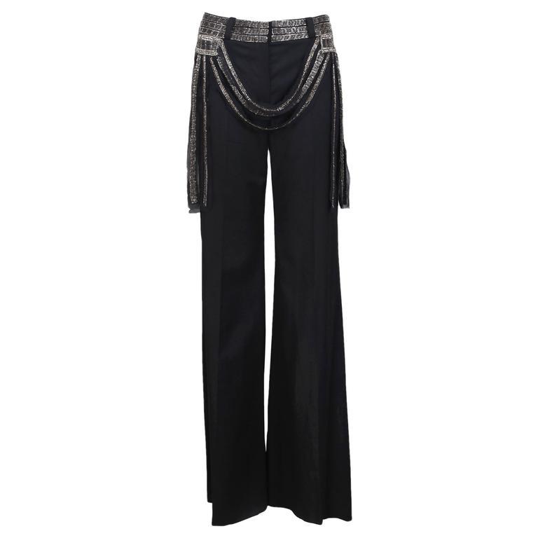 2002 Chloe by Stella McCartney Black Trouser Pants w/Beaded Waistband