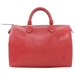 Vintage Louis Vuitton Speedy 30 Red Epi Leather City Hand Bag